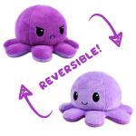 A happy light purple reversible octopus plushie flipping to an angry purple reversible octopus plushie.