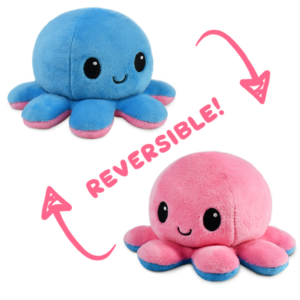 A happy pink reversible octopus plushie flipping to happy blue reversible octopus plushie.