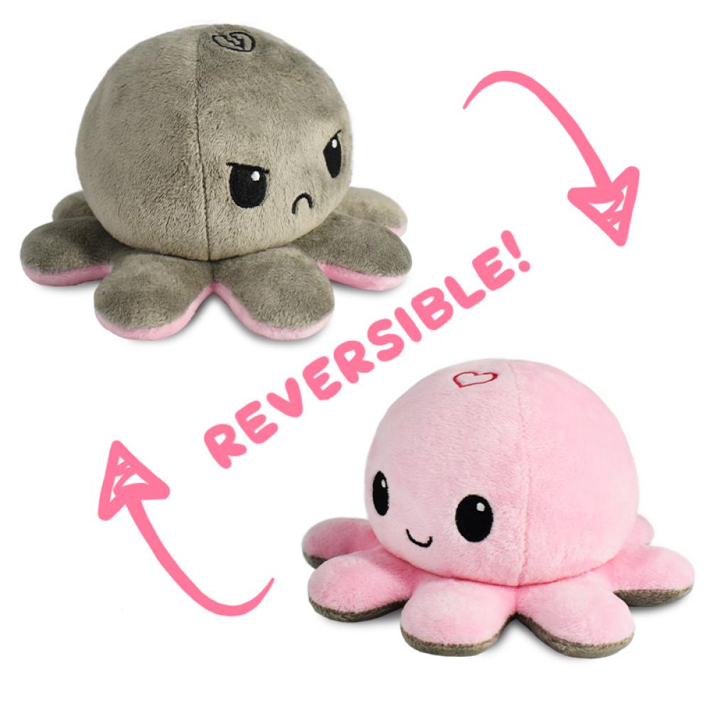 Octopus Stuffed Animal Reversible Plush Fire Eyes, 3,93 Mood Octopus Plush Reversible Gifts for Kids Double-Sided Flip Octopus Plush Doll MABES WAREHOUSE Reversible Octopus Plush