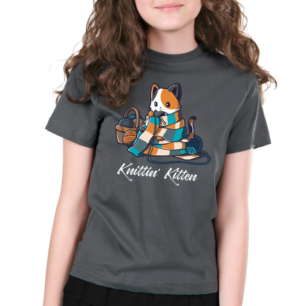 Knittin' Kitten Kid's T-Shirt Model TeeTurtle