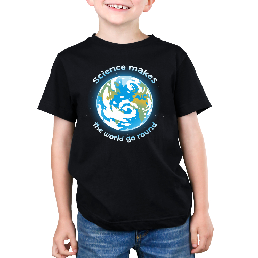 Science Makes The World Go Round Kid's t-shirt model TeeTurtle black t-shirt featuring the planet earth