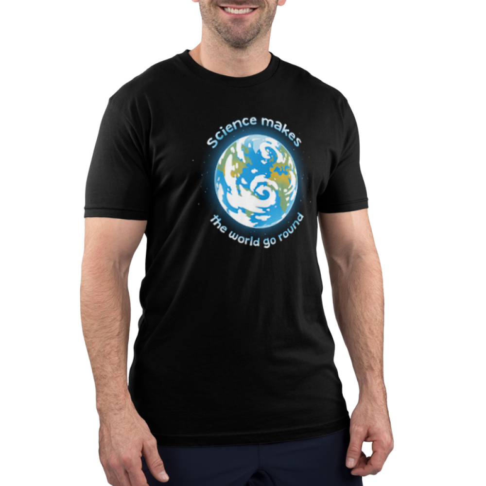 Science Makes The World Go Round Men's t-shirt model TeeTurtle black t-shirt featuring the planet earth