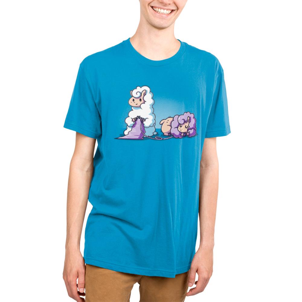 Knitting Llama Men's T-shirt model TeeTurtle blue t-shirt featuring a llama knitting something out of another purple llama's wool