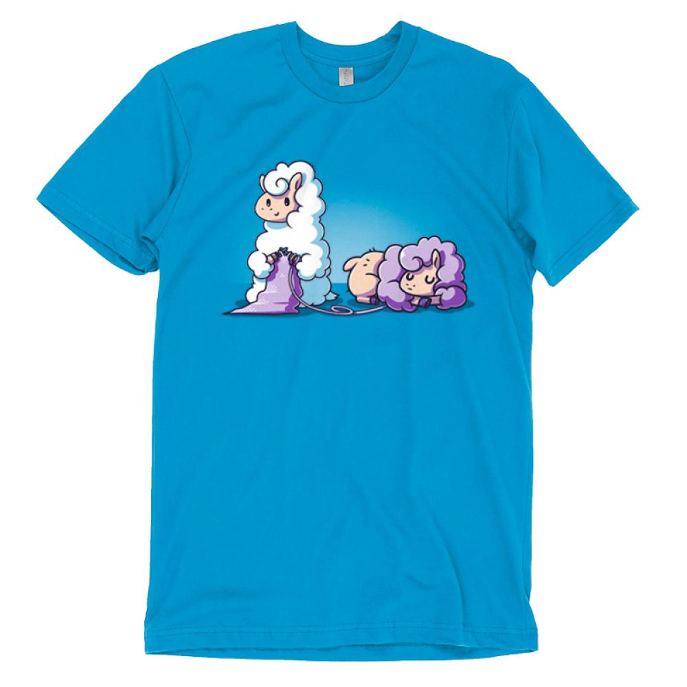 Knitting Llama T-shirt TeeTurtle blue t-shirt featuring a llama knitting something out of another purple llama's wool