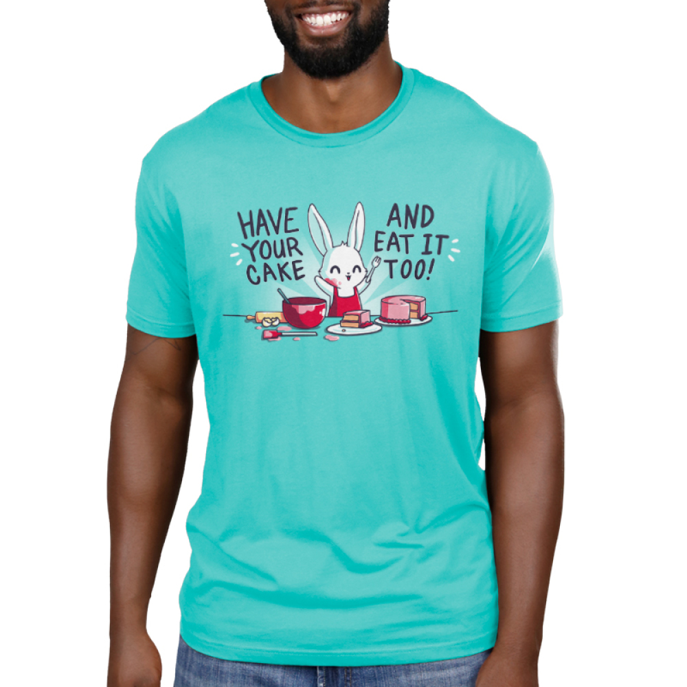Have Your Cake and Eat It Too women's T-shirt model TeeTurtle blue t-shirt featuring a bunny baking with shirt text