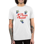 Pizza Planet Men's T-shirt Model Disney TeeTurtle white t-shirt featuring the aliens from Toy Story 2 and 3 with alt text