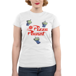 Pizza Planet Juniors T-shirt Model Disney TeeTurtle white t-shirt featuring the aliens from Toy Story 2 and 3 with alt text