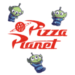 Pizza Planet T-shirt Disney TeeTurtle white t-shirt featuring the aliens from Toy Story 2 and 3 with alt text