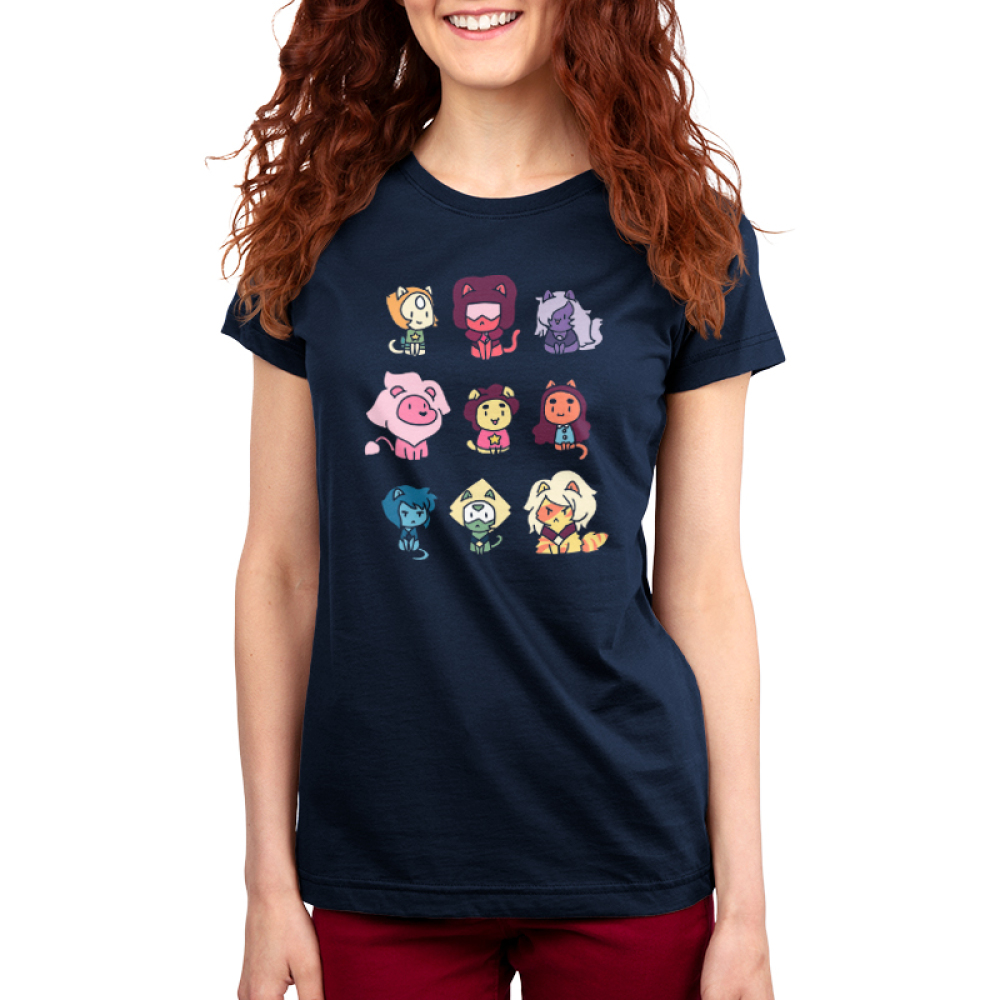 Kitten Universe (v2) Cartoon Network TeeTurtle women's T-shirt model Black t-shirt featuring various Steven Universe characters in kitten form