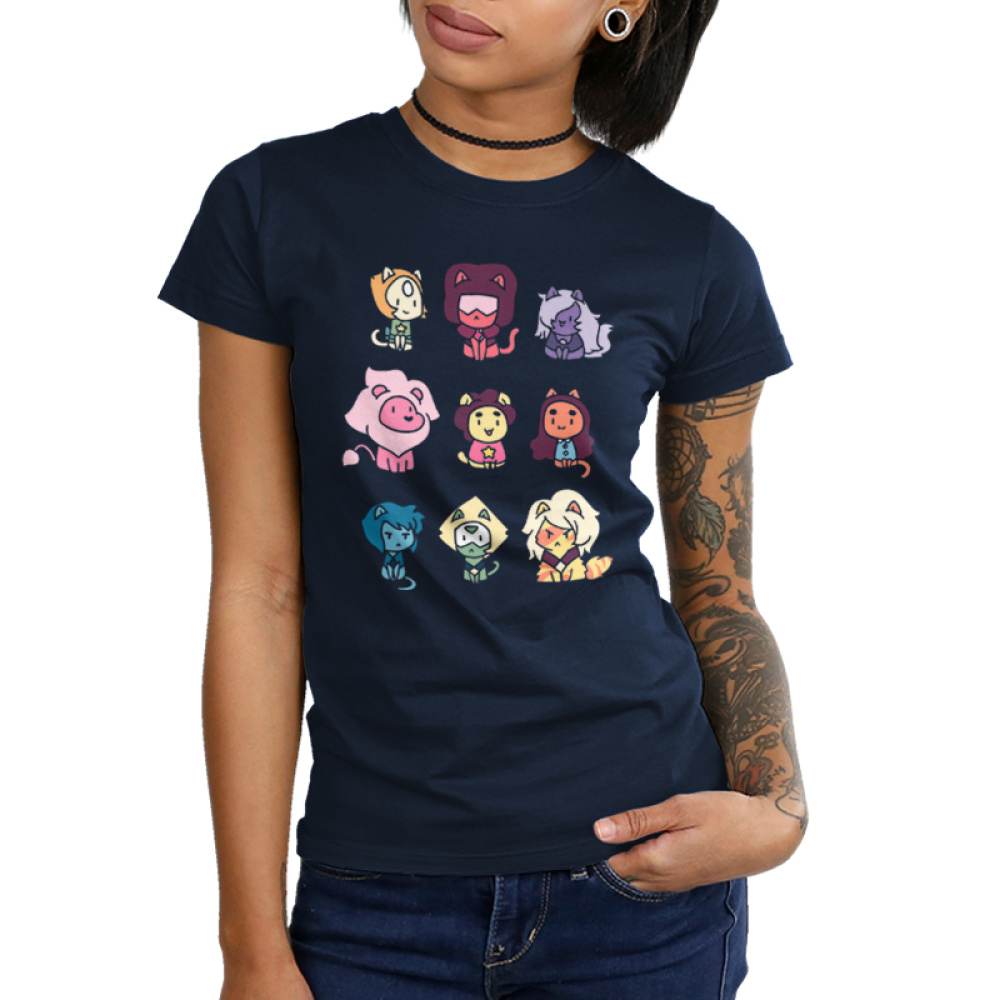 Kitten Universe (v2) Cartoon Network TeeTurtle Juniors T-shirt model Black t-shirt featuring various Steven Universe characters in kitten form