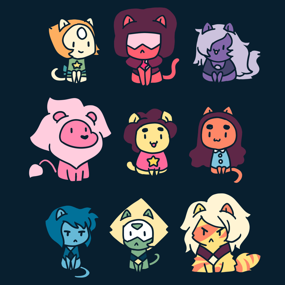 Kitten Universe (v2) Cartoon Network TeeTurtle Black t-shirt featuring various Steven Universe characters in kitten form