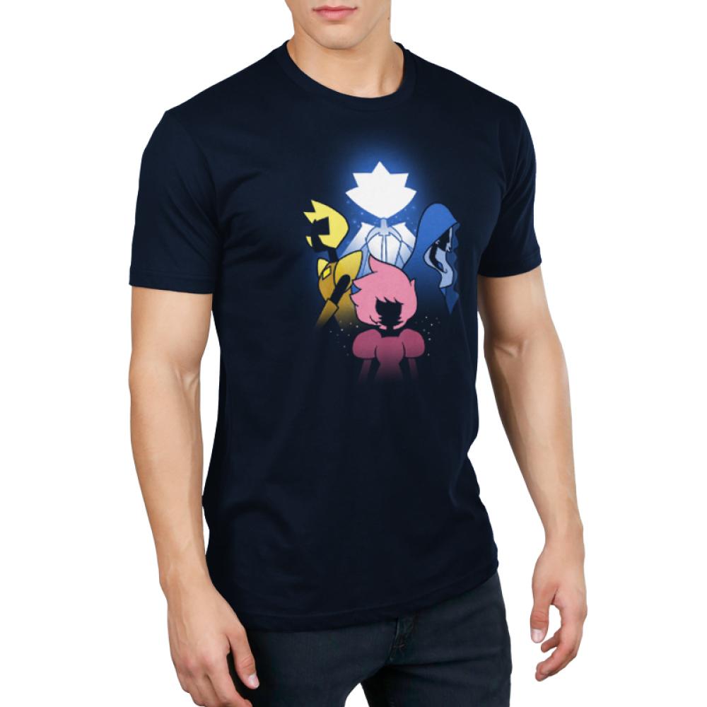 The Diamonds Men's T-shirt model Cartoon Network TeeTurtle black t-shirt featuring the diamond authority from Steven Universe