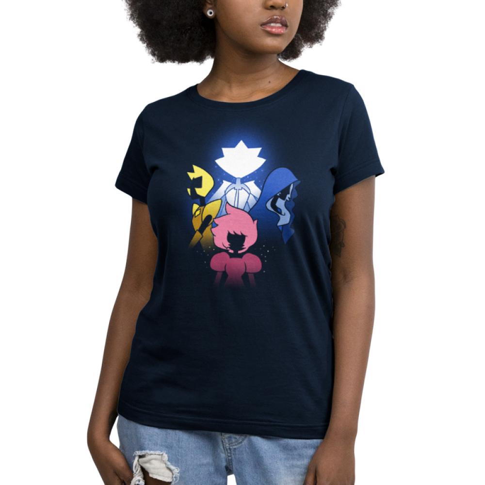 The Diamonds women's T-shirt model Cartoon Network TeeTurtle black t-shirt featuring the diamond authority from Steven Universe