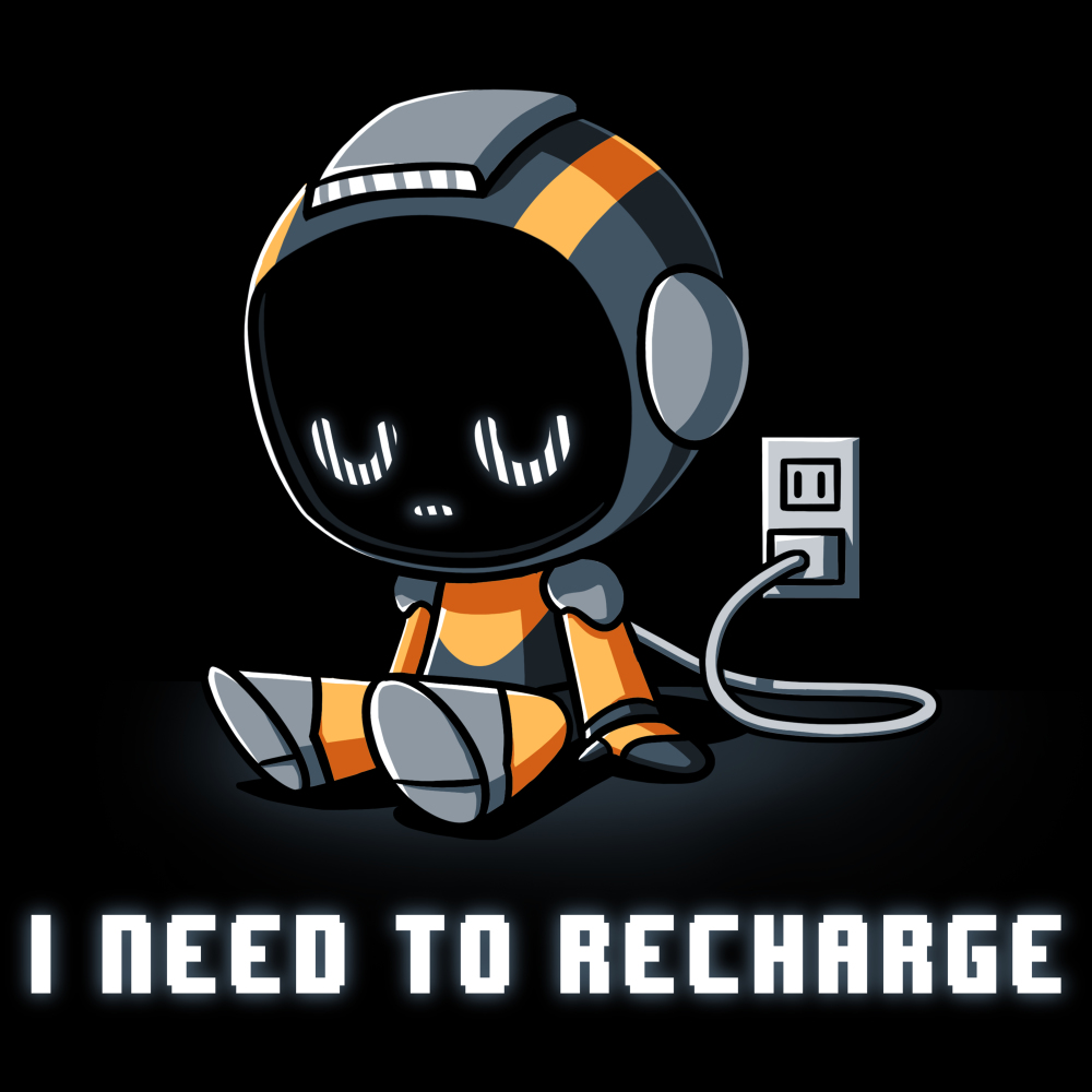 I'm Recharging (Robot) t-shirt TeeTurtle blck t-shirt featuring a robot plugged into the wall with shirt text