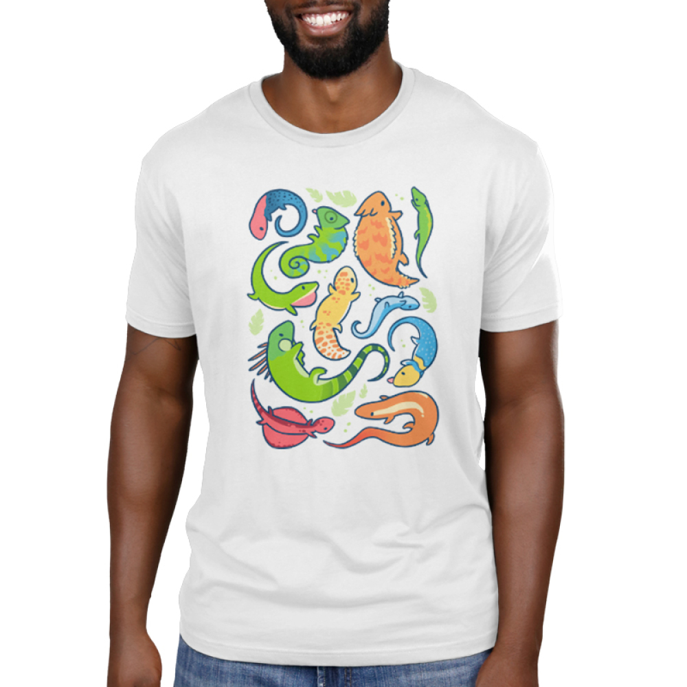 Lizard Party Men's T-shirt model TeeTurtle white t-shirt featuring a bunch of multicolored lizards