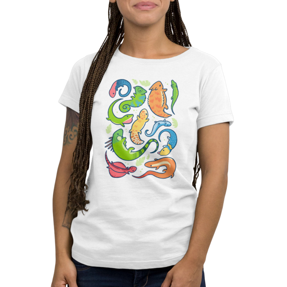 Lizard Party Womens' T-shirt model TeeTurtle white t-shirt featuring a bunch of multicolored lizards