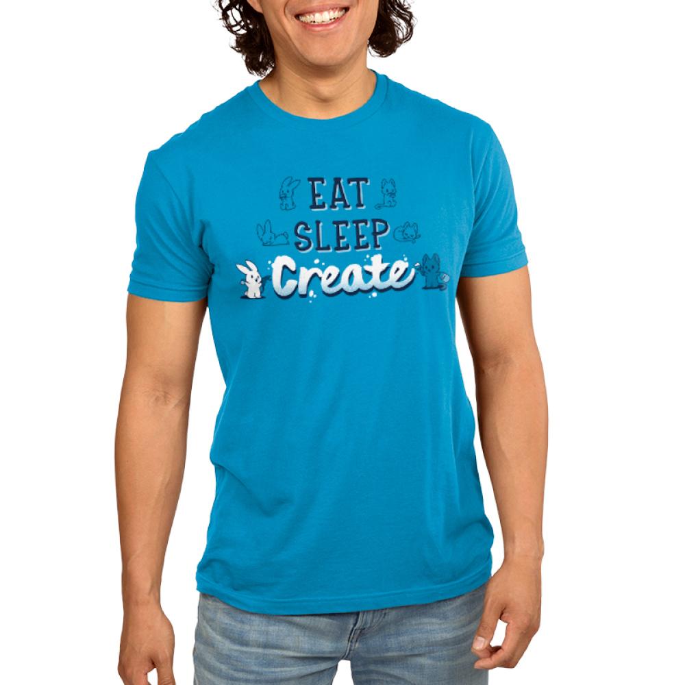 Eat Sleep Create Men's T-shirt model TeeTurtle blue t-shirt featuring shirt text