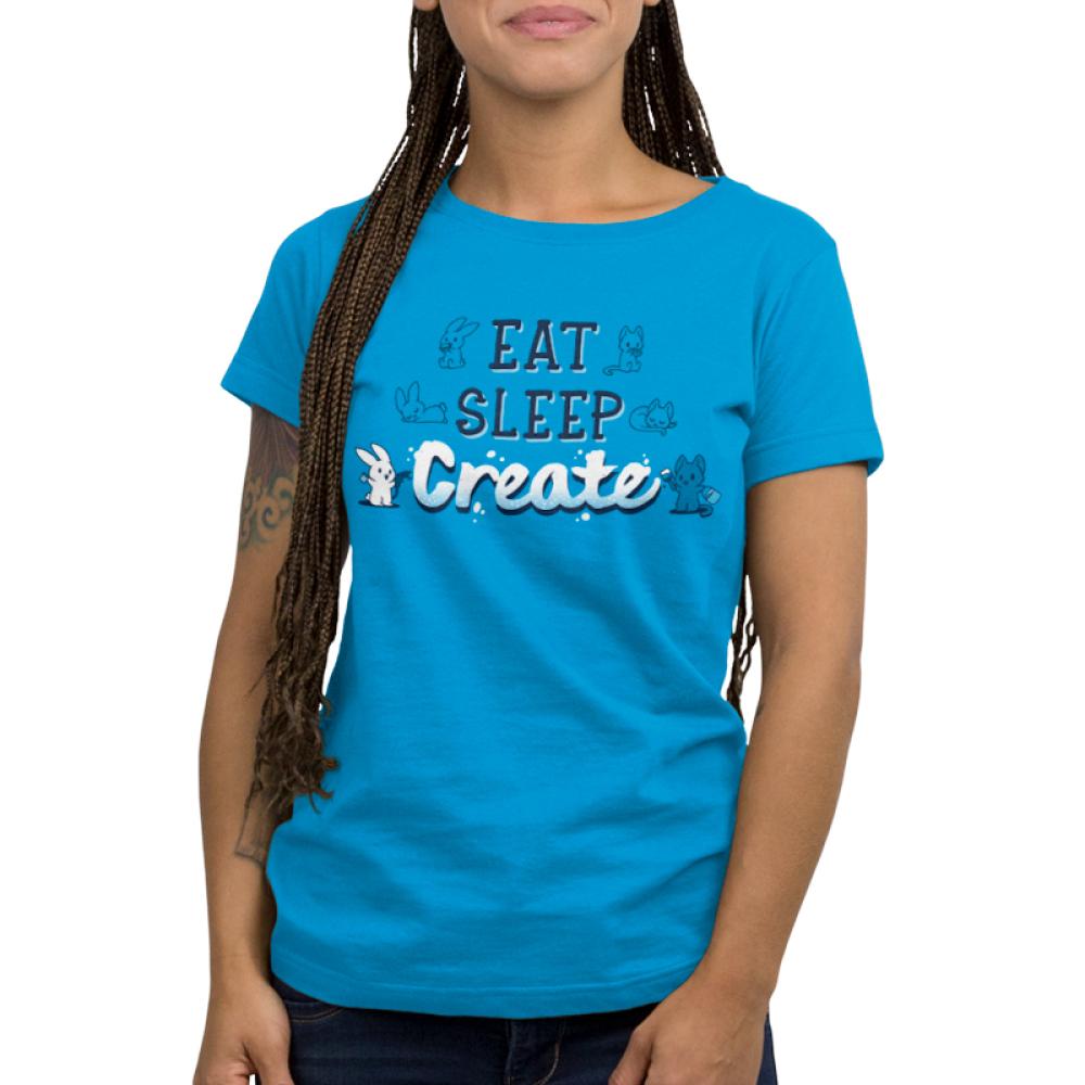 Eat Sleep Create Women's T-shirt model TeeTurtle blue t-shirt featuring shirt text