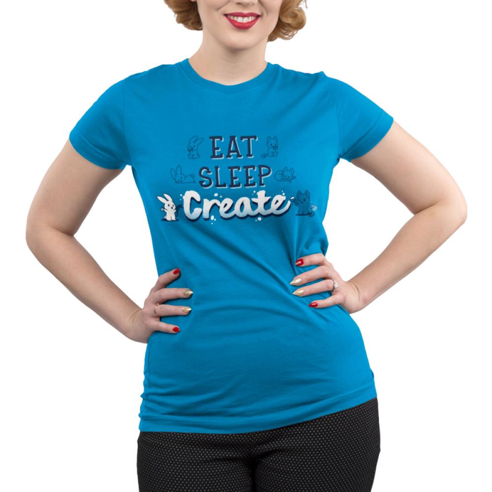 Eat Sleep Create Juniors T-shirt model TeeTurtle blue t-shirt featuring shirt text