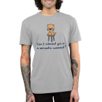 Can I Interest You in a Sarcastic Comment Men's T-shirt model Teeturtle gray t-shirt featuring an otter sitting on a stool with shirt text