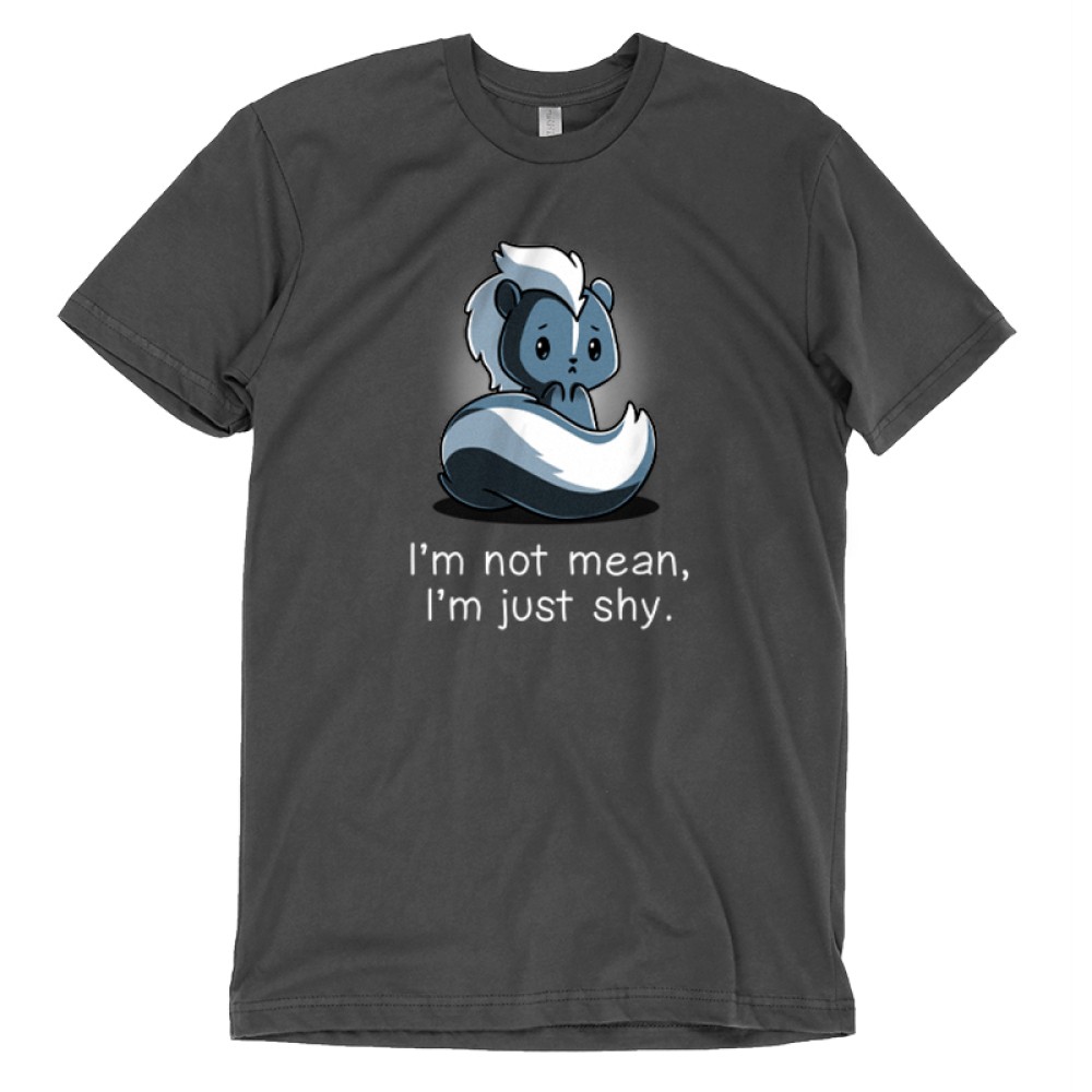 I'm Not Mean, I'm Just Shy T-shirt TeeTurtle gray t-shirt featuring a nervous looking skunk with shirt test