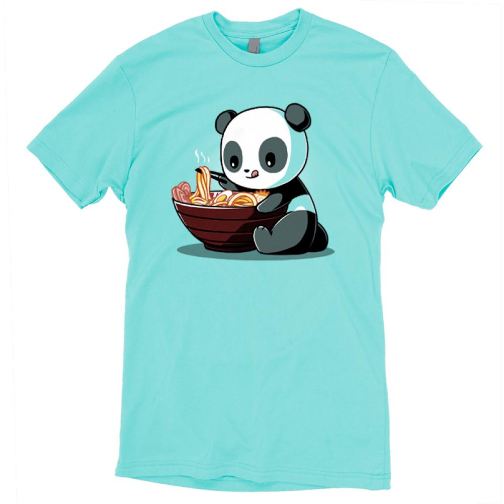 Ramen Panda t-shirt TeeTurtle teal t-shirt featuring a panda eating a bowl of ramen