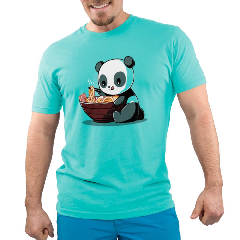 Ramen Panda men's t-shirt model TeeTurtle teal t-shirt featuring a panda eating a bowl of ramen