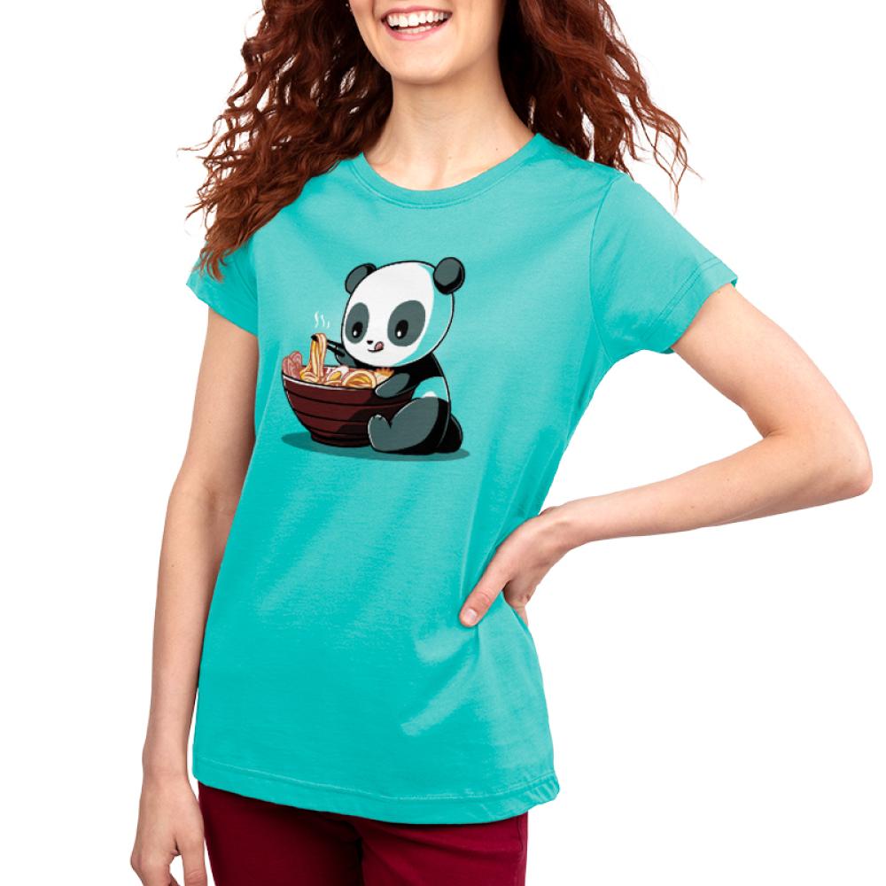 Ramen Panda women's t-shirt model TeeTurtle teal t-shirt featuring a panda eating a bowl of ramen