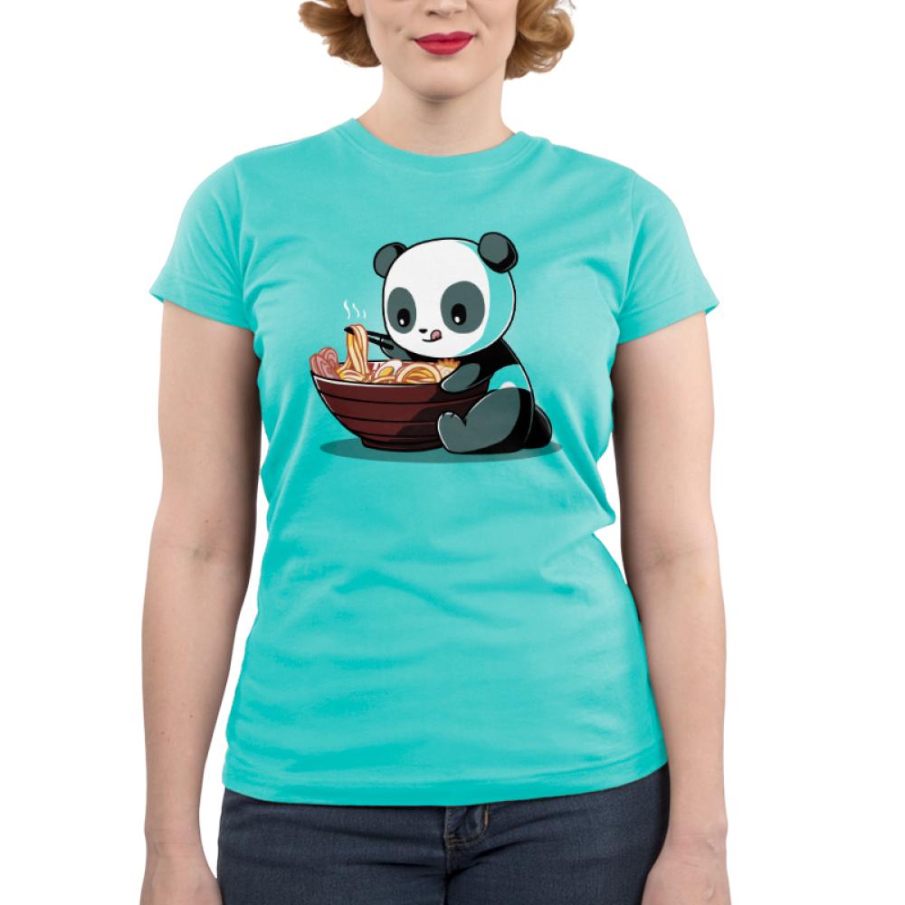Ramen Panda junior's t-shirt model TeeTurtle teal t-shirt featuring a panda eating a bowl of ramen