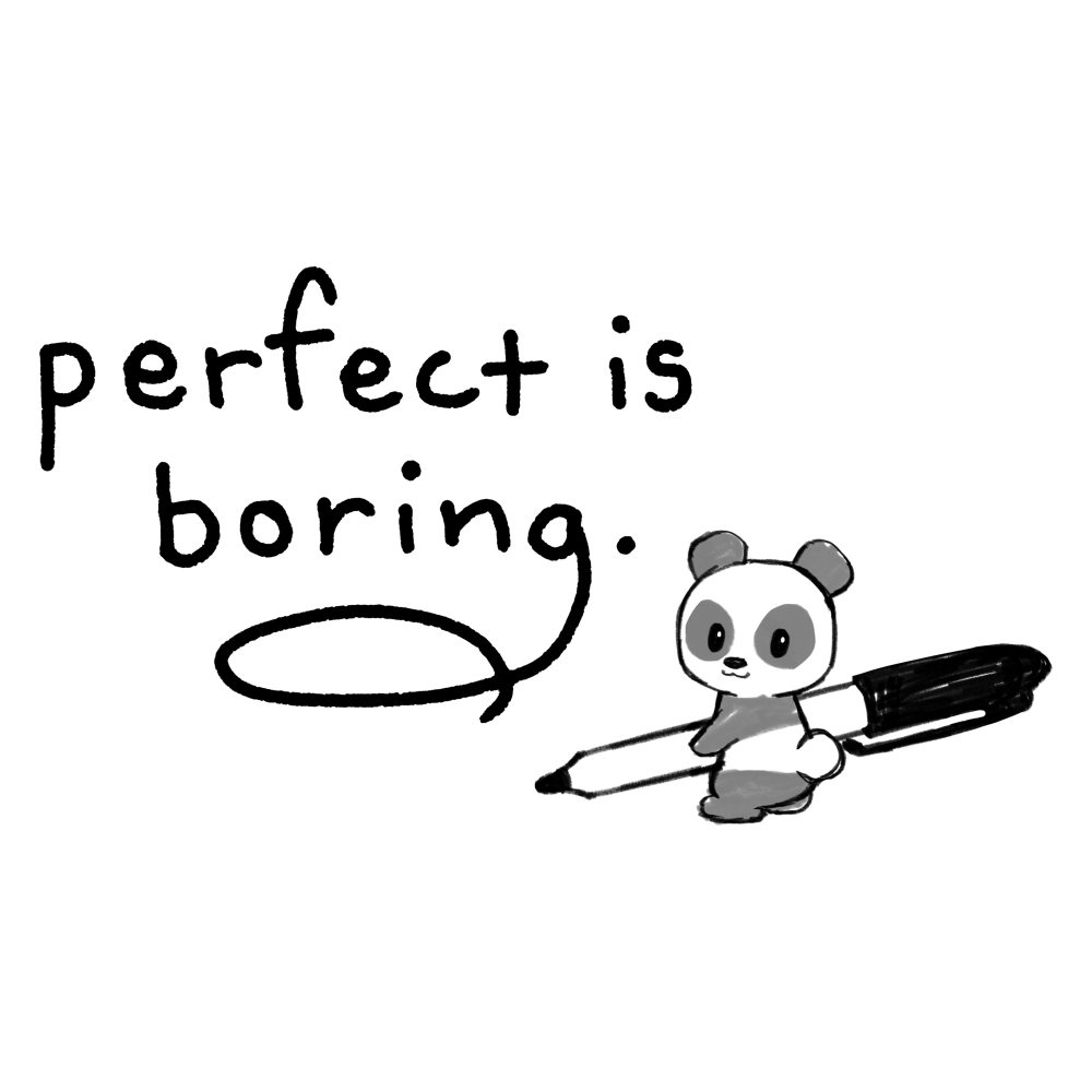 Perfect is Boring t-shirt TeeTurtle white t-shirt featuring a panda writing out the words