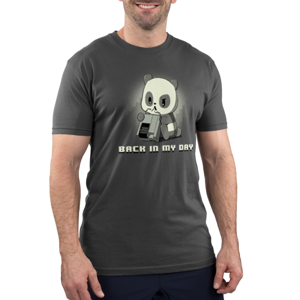 Back in My Day men's T-shirt model TeeTurtle gray t-shirt featuring a panda blowing on a game console with shirt text