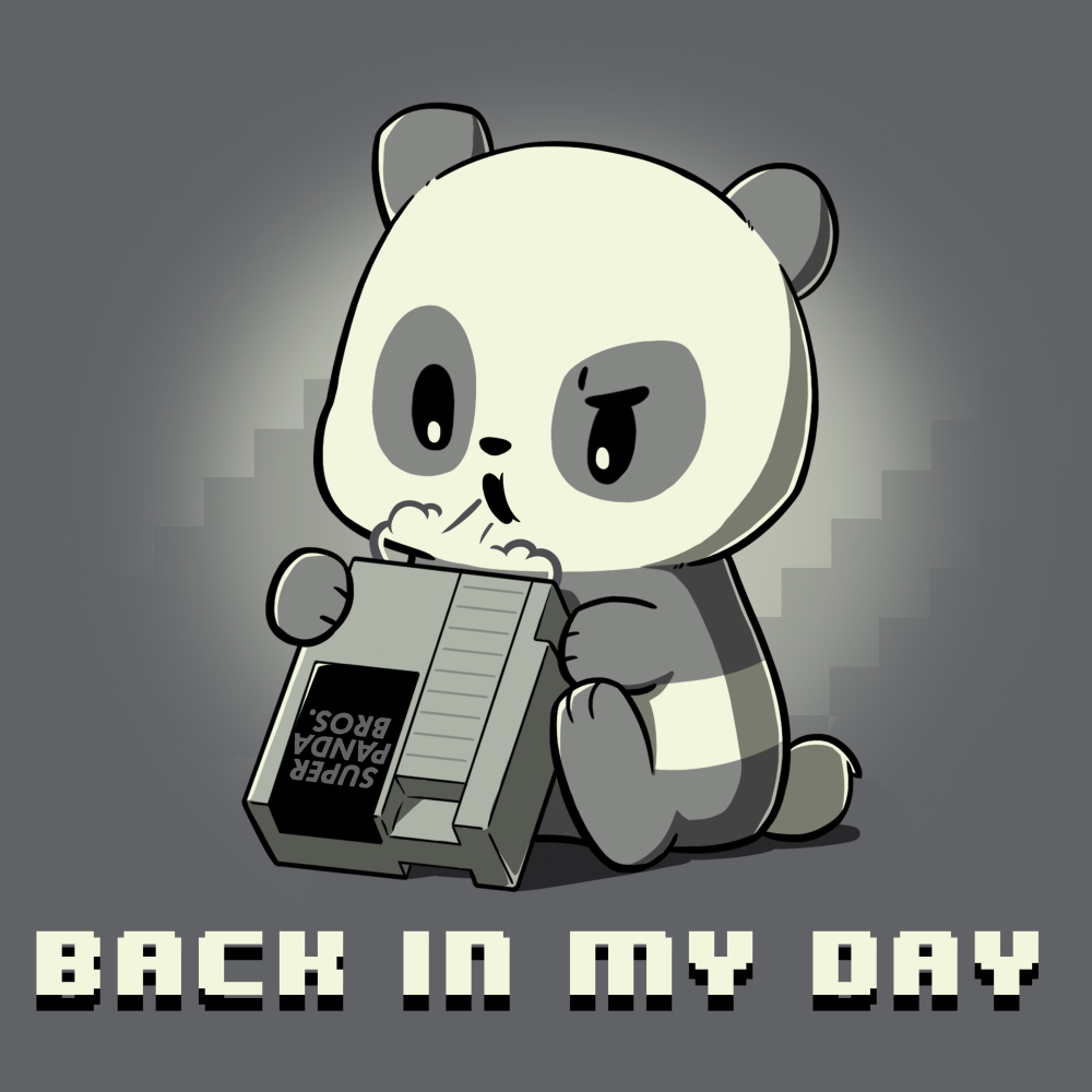 Back in My Day T-shirt TeeTurtle gray t-shirt featuring a panda blowing on a game console with shirt text
