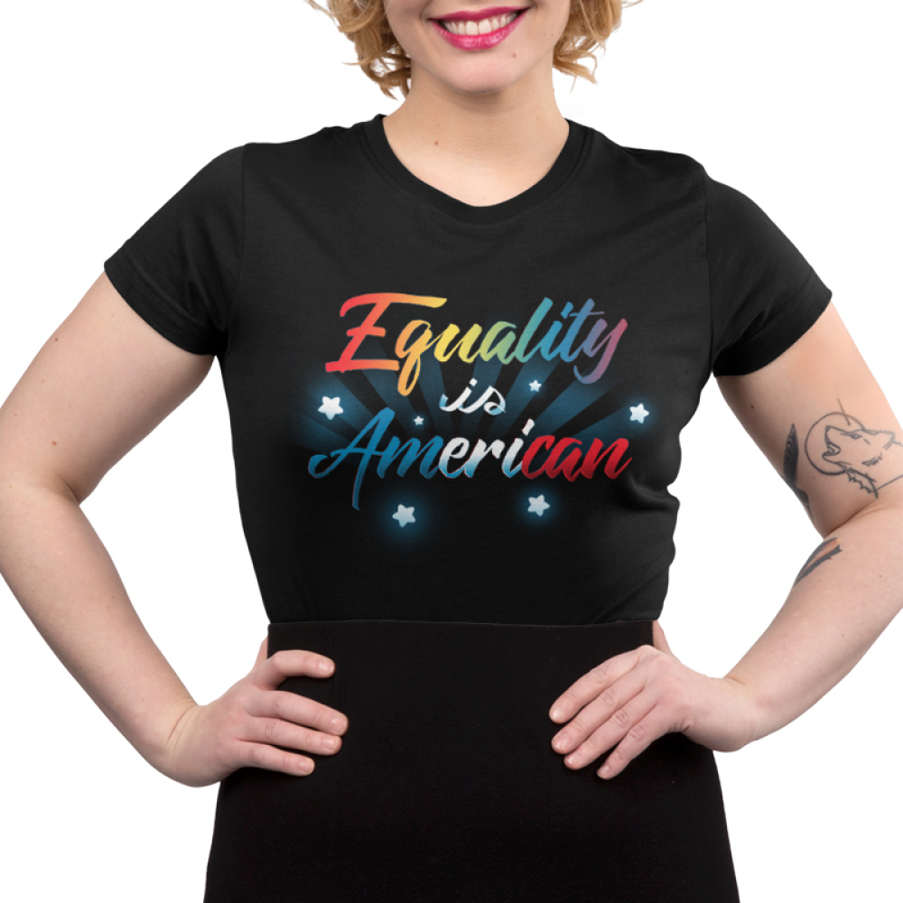Equality is American juniors t-shirt model TeeTurtle black t-shirt featuring shirt text