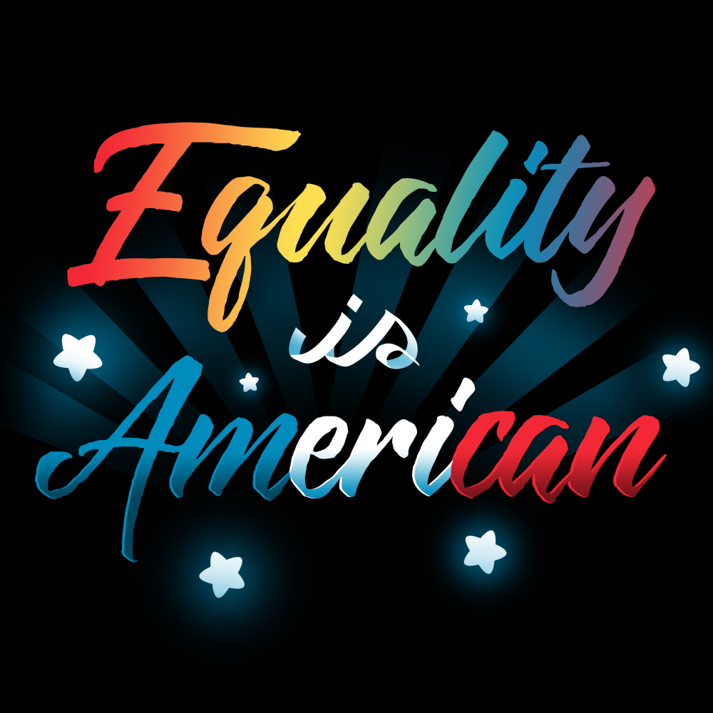 Equality is American t-shirt TeeTurtle black t-shirt featuring shirt text