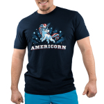 Americorn men's t-shirt model Blue t-shirt featuring a unicorn decked out in red white and blue and wearing sunglasses with shirt text