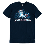 Americorn t-shirt Blue t-shirt featuring a unicorn decked out in red white and blue and wearing sunglasses with shirt text
