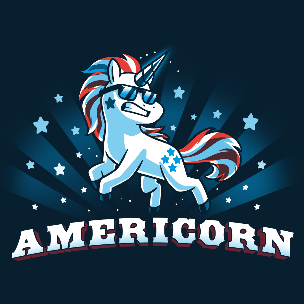 d5bce8f1 Americorn t-shirt Blue t-shirt featuring a unicorn decked out in red white