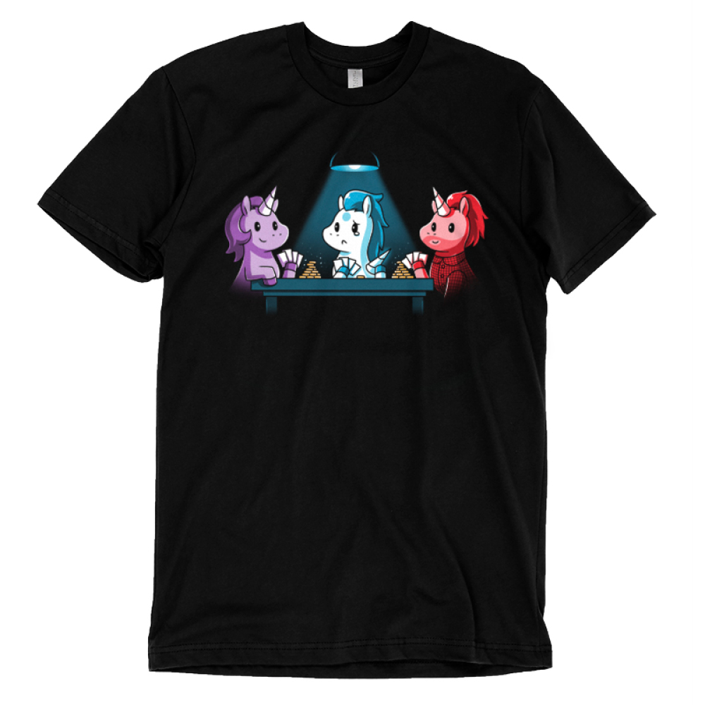 Game Night t-shirt TeeTurtle black t-shirt featuring three different colored unicorns playing a game of cards with chips stacked up for two of them and only one chip for the unicorn in the middle