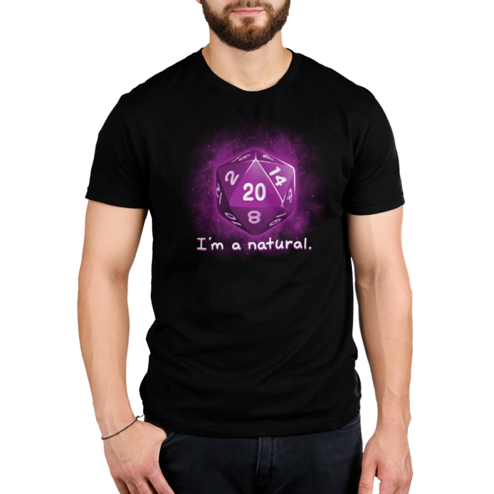 I'm a Natural men's t-shirt model TeeTurtle black t-shirt featuring a purple dice with shirt text