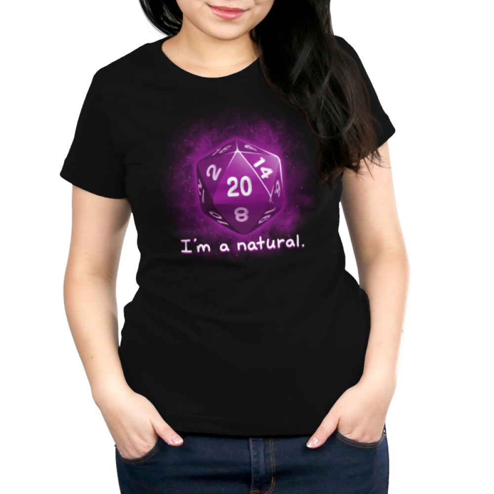 I'm a Natural juniors' t-shirt model TeeTurtle black t-shirt featuring a purple dice with shirt text