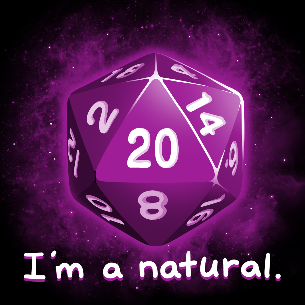 I'm a Natural t-shirt TeeTurtle black t-shirt featuring a purple dice with shirt text
