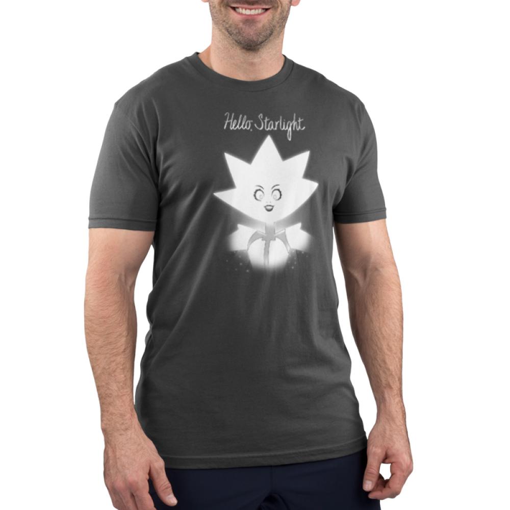 Hello Starlight men's t-shirt model TeeTurtle Steven Universe t-shirt featuring White Diamond from Steven Universe with shirt text