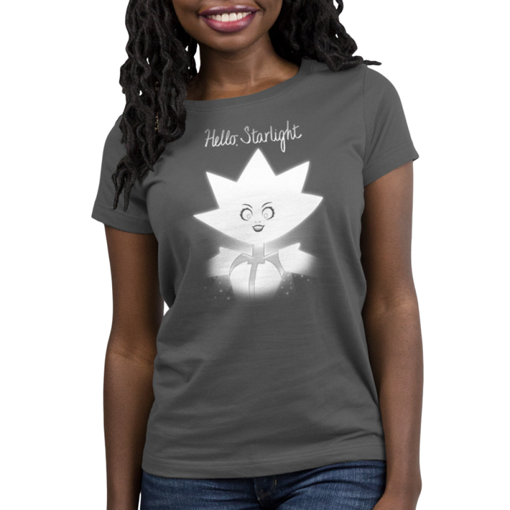 Hello Starlight women's t-shirt model TeeTurtle Steven Universe t-shirt featuring White Diamond from Steven Universe with shirt text