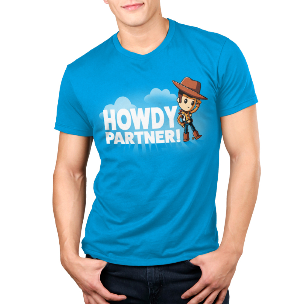 Howdy Partner Men's T-shirt model TeeTurtle Disney blue t-shirt featuring Woody from Toy Story with shirt text