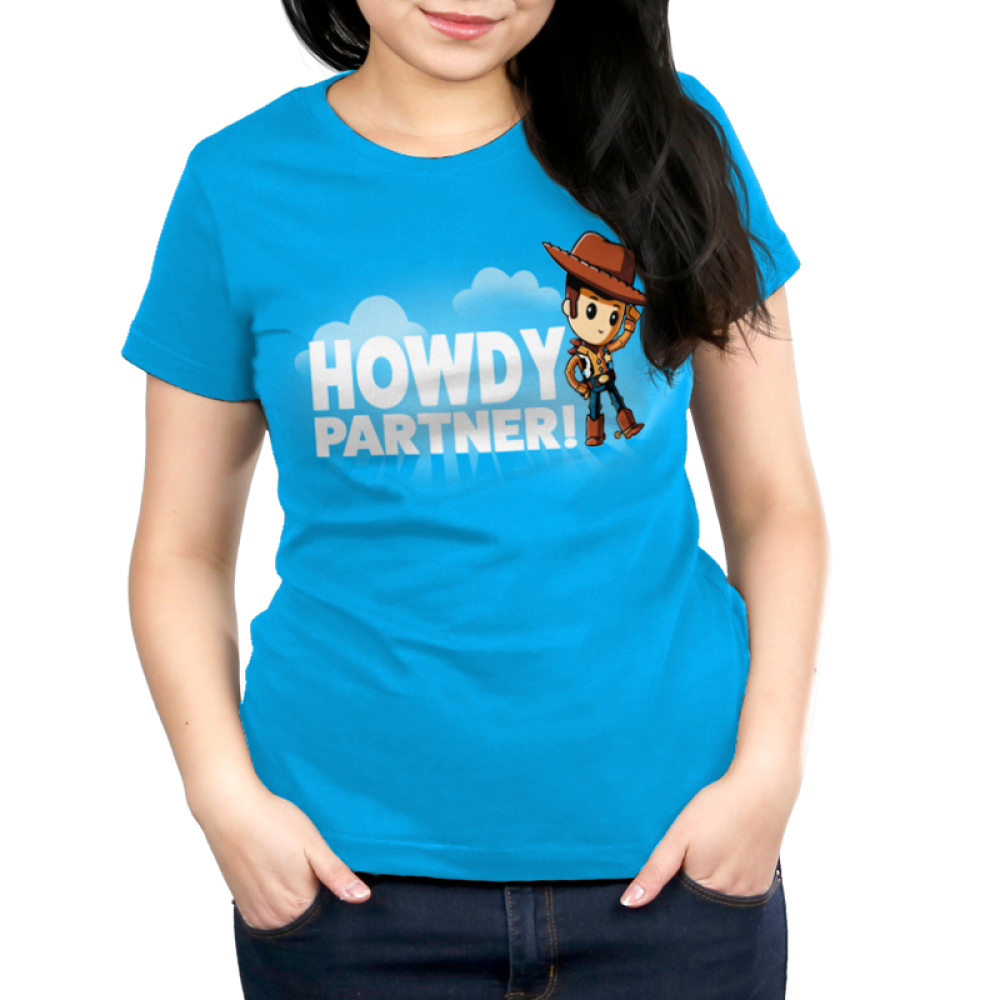 Howdy Partner women's T-shirt model TeeTurtle Disney blue t-shirt featuring Woody from Toy Story with shirt text