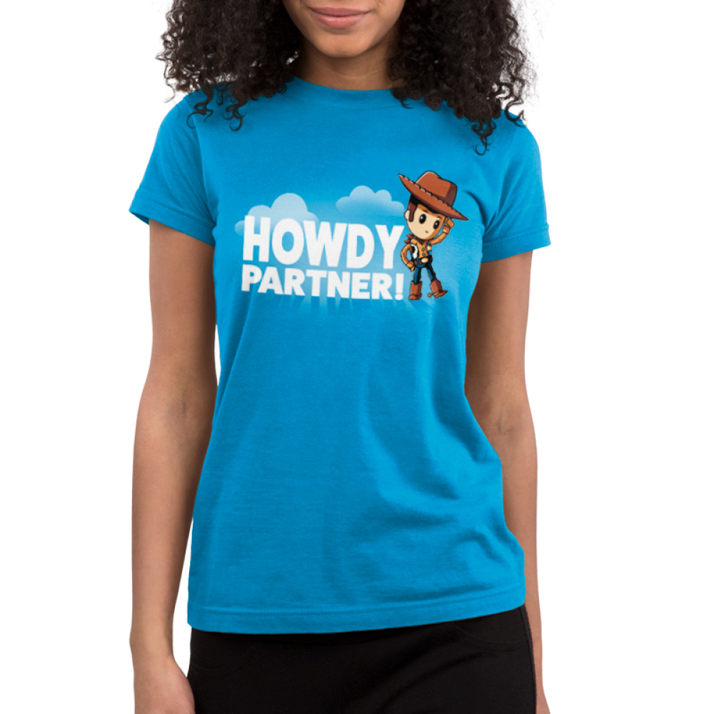 Howdy Partner Juniors T-shirt model TeeTurtle Disney blue t-shirt featuring Woody from Toy Story with shirt text