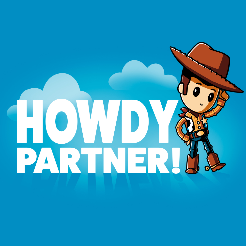 Howdy Partner T-shirt TeeTurtle Disney blue t-shirt featuring Woody from Toy Story with shirt text