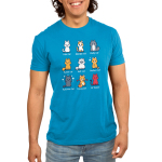 All the Cats men's TeeTurtle model blue t-shirt featuring 9 different types of cats