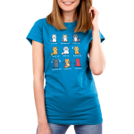 All the Cats women's TeeTurtle model blue t-shirt featuring 9 different types of cats