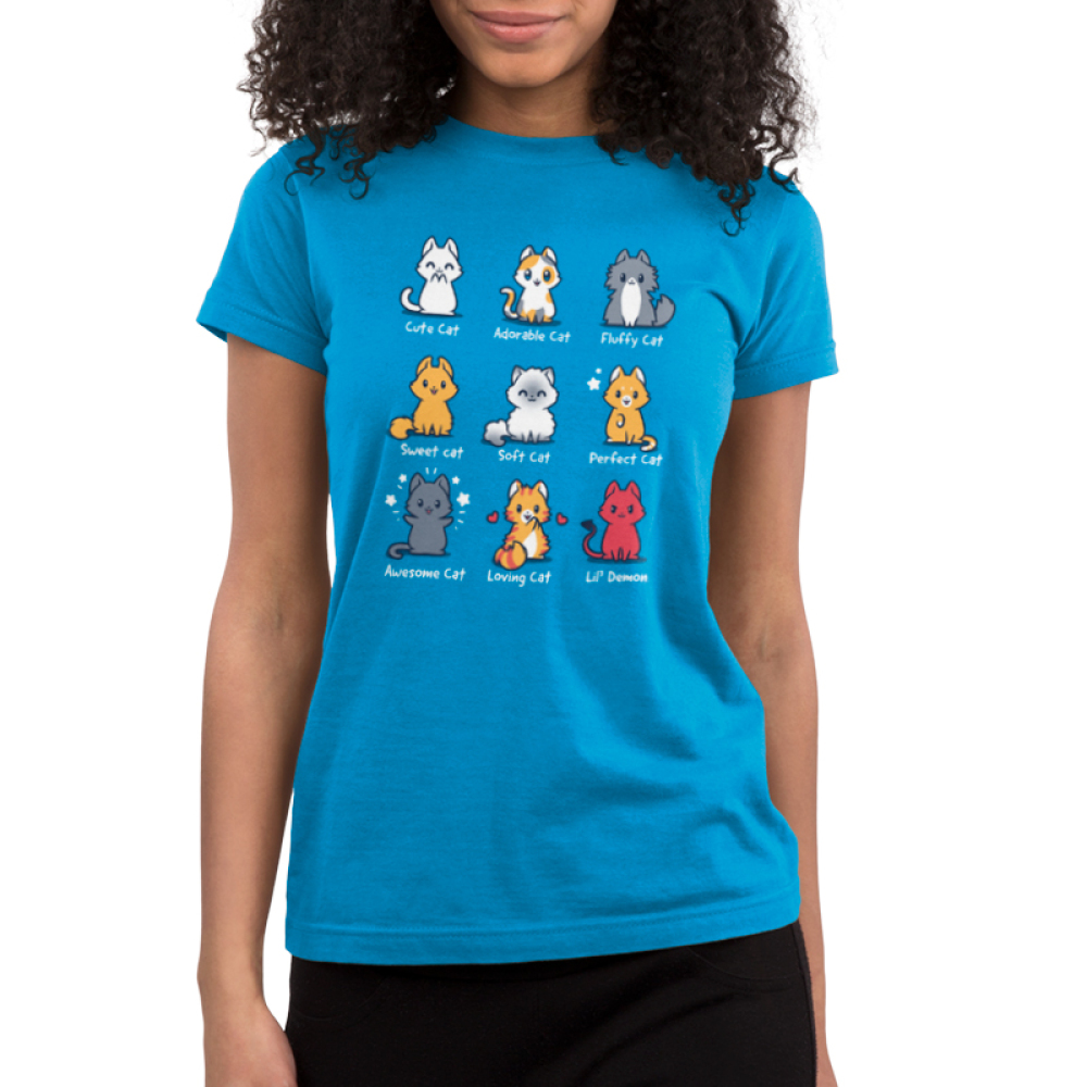 All the Cats junior's TeeTurtle model blue t-shirt featuring 9 different types of cats